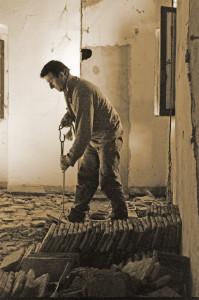 restauro, particolare del nuovo pavimentazione in cotto tipico fiorentino