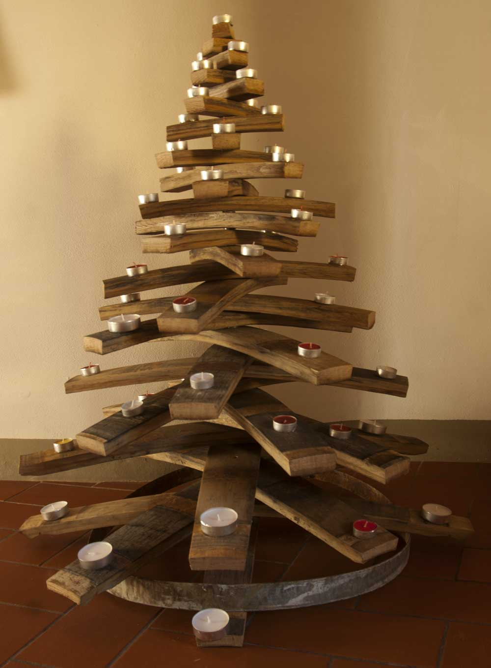christmas tree made by used barrique of Chianti wine